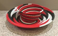 Woven Telephone Wire Basket Bowl South African Art Zulu Colorful Set of 2