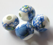 30pcs 10mm Round Porcelain/Ceramic Beads - White / Daisy with Blue Ribbon