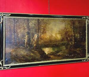 Quadro antico dipinto a mano olio su tela 900 grande paesaggio montano anni 70