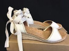 UGG Australia Amell Open Toe Canvas Lace Up Jute Wedge 1014955 Canvas sizes