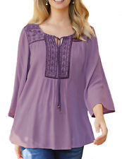 Ladies Lilac or White Crinkle Gypsy Tunic Top in UK Sizes 8-26