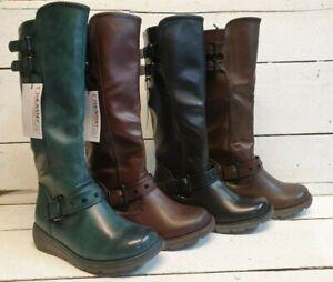 Ladies Heavenly Feet Erica Vegan Friendly Tall Wedge Zip Boots