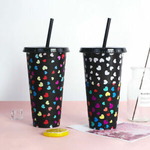 Reusable Cold Cup Colour Changing Tumbler - Frosted With Lid & Straw 24oz Large