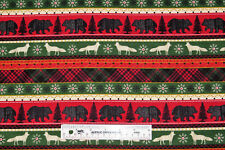 Woodland Animals Bears Wolves Stripes Mens Cotton Flannel Fabric  BTY (J2) +