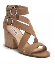 Steve Madden Archer Leather Criss Cross Block Heel Sandals Cognac Size 8.5 M NIB