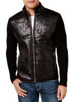 INC Mens Bronx Sweater Jacket Large L Faux-Leather Knit Mock-Neck Zip-Up $99 078