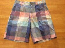 IZOD Pastel Pink Blue Purple Plaid Cotton SHORTS Flat front Mens size 32 Preppy