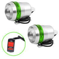 2x Motorcycle Headlight Spot Light Green Angel Eye LED White Driving Lamp Switch