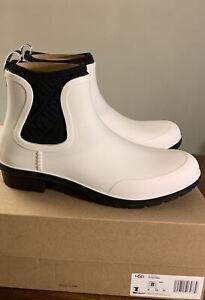 UGG CHEVONNE WHITE/ BLACK 1110650 SZ 8 WOMAN'S RAIN BOOTS/ AUTHENTIC WATERPROOF