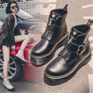 Women Pu Leather Buckle Strap Heart Sweet Flat Shoes Wedge Heels Ankle Boots