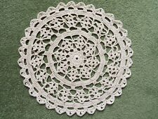 """Crotchet Cotton Natural 9"""" DOILY for table or Porthole in Narrowboat"""