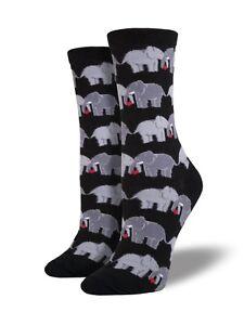 "Socksmith Women's Socks Novelty Crew Cut ""Elephant Love"" / Choose Your Color!!"