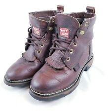 TONY LAMA TW953 C CHILD TODDLER LEATHER WORK BOOTS SIZE 11.5 D LACE UP, BROWN
