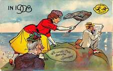 Leap Year Greetings Lady with Net Catching Man Antique Postcard J60596