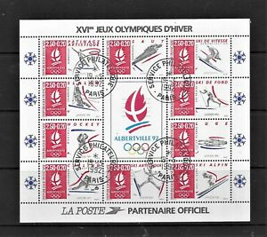 HICK GIRL- USED FRANCE SOUVENIR SHEET    SC#B636  1992  WINTER OLYMPICS     A1