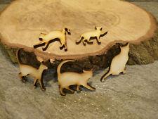 25 x wooden cat craft blank embellishment