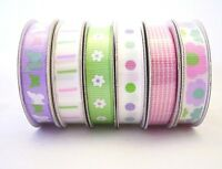 Ribbon, 6 Rolls, Flower Butterfly pink green purple white, American Crafts