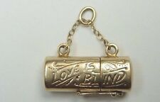 "Vintage Retro Love Is Blind Charm 14K Gold .83"" x .33"" x .23"" 3.9 Grams"