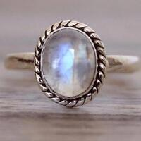 Vintage 925 Silver Oval Natural Rainbow Moonstone Wedding Ring Wholesale Jewelry