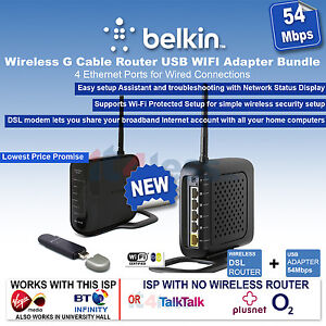 Belkin F5D7234-54 Mbps 4-Port Wireless G Cable Router USB WIFI Adapter Bundle
