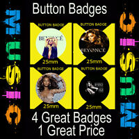 """BEYONCE - 4 GREAT BUTTON BADGES - 25mm -1"""" CD7654"""