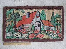 """Antique Primitive Small Hooked Rug Folk Art Cottage (27 1/4"""")"""