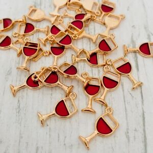 10 Gold Red Enamel Wine Glass Charms Tibetan Charm for Jewellery Making Beads
