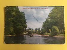 BOATING AND FISHING ON THE ST JOSEPH RIVER POSTCARD 1912 MICH