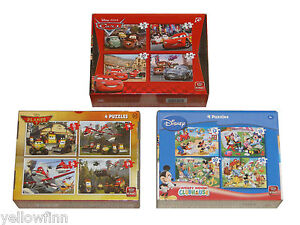 Disney Planes, Cars, Mickey Mouse, Four Jigsaw Puzzle Childrens Cartoon Box Sets