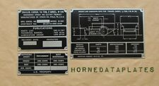 M100 1/4 TON TRAILER DATA PLATES ZINC STRICK CO. ID JEEP M38 M38A1 M151