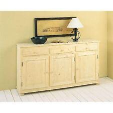 Mobile country 3 ante e 3 cassetti in legno abete massello grezzo