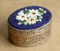 Small vintage mosaic pill box, flower decorations, width is 35mm.
