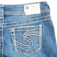 Silver Suki Distressed Dark Wash Mid Rise Boot Cut Denim Jeans Womens 29 29x30