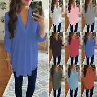 Womens Chiffon Long Sleeve V Neck Shirt Blouse Loose Tunic Top T-shirt Plus Size