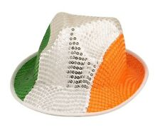 Fancy Dress Irish Green White Orange Sequin Gangster Hat St Patricks Day Ireland