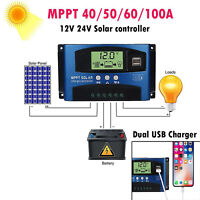 MPPT Solar Charge Controller Lighting Panel Battery Charger Dual USB Port LCD