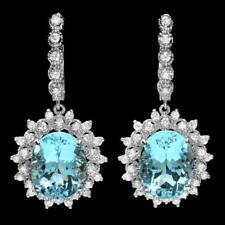 Certified 13.00cttw Aquamarine 1.50cttw Diamond 14KT White Gold Earing