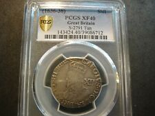 (1636-1638) Great Britain King Charles I Silver Shilling. PCGS Extra Fine 40. PQ