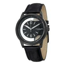 Stuhrling 946 03 Winchester Quartz Transparent Dial Black Leather Mens Watch