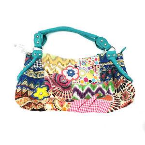 NWT Womens Tribal Boho Multicolor Embroidered Zip Baguette Shoulder Handbag