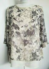 Nougat London Women's Blouse Top Floral Gray Ivory Size 2