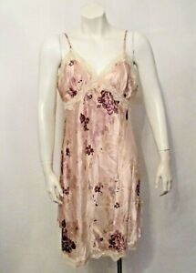 Gilligan & O'Malley Floral Satin Lace Trim Chemise Babydoll Nighties Nightgown M