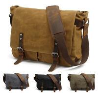 Men's Vintage Canvas Messenger Bag Schoolbag Satchel Shoulder Bookbag Laptop Bag