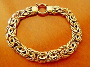 TECHNIBOND BYZANTINE LINK BRACELET 14K YELLOW GOLD CLAD 925 SILVER~SENORA CLASP