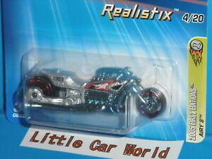 2005 First Editions HOT WHEELS Airy 8 Motorcycle Realistx 4/20 Col. #004 Silver