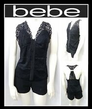 bebe LACE V NECK RING BACK CAMI TOP SHIRT WOMEN SEXY BLOUSE SIZE L (NEW)