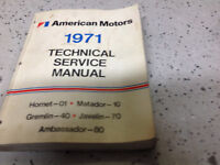 1971 AMC Gremlin Hornet Matador Technical Repair Service Shop Manual OEM 1971