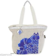 Laurel Burch BLOSSOMING FELINES Oversized Tote Blue Cat Flowers Travel NEW 2016
