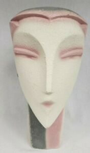 """Vintage 80'S Head Bust Lindsey B Balkweill Style Pink Pearly Art Deco 12"""""""