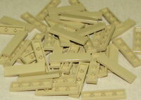 LEGO LOT OF 50 NEW 1 X 4 TAN TILES SMOOTH BRICKS BUILDING BLOCKS PIECES